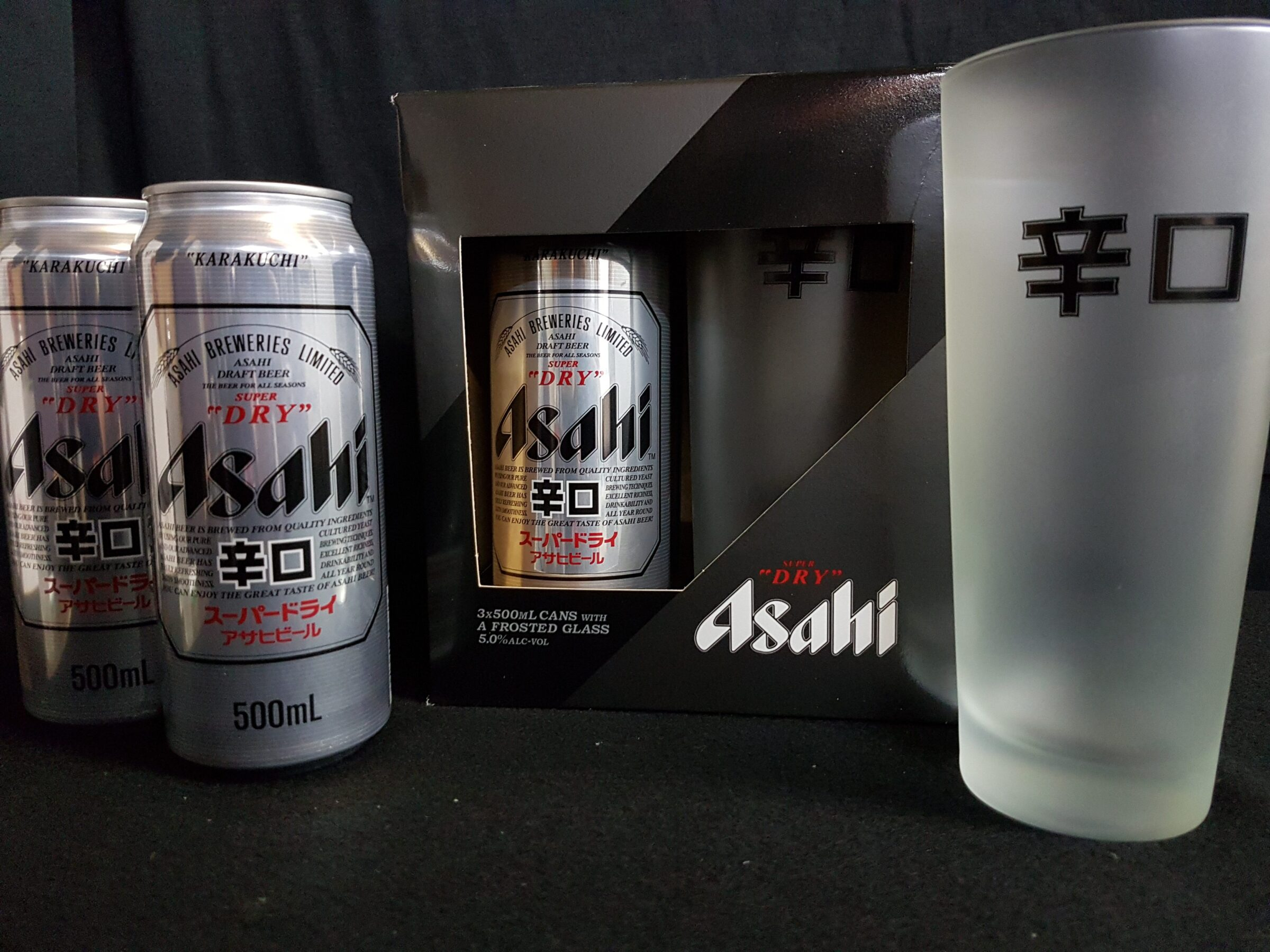 3 x Asahi Super Dry 500ml Cans with a Asahi frosted glass for $20.